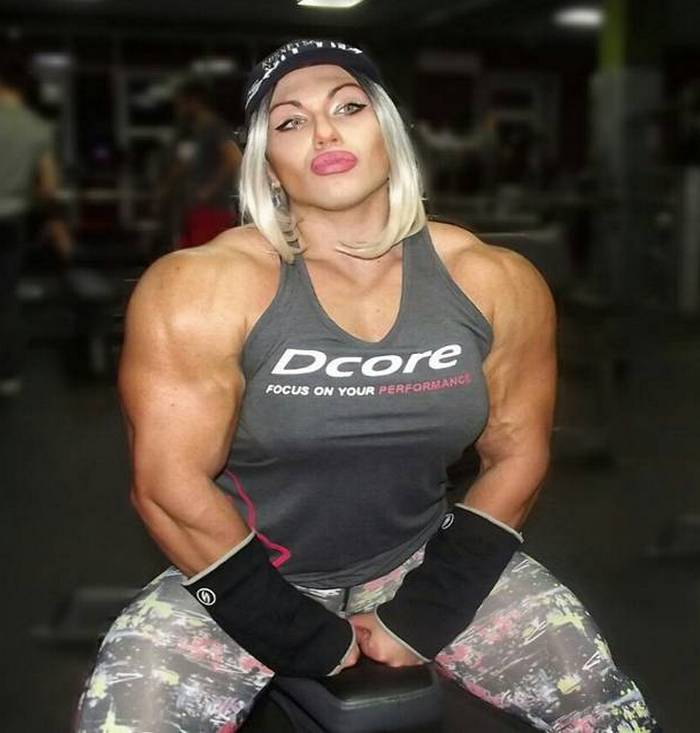 Woman with muscular boobs